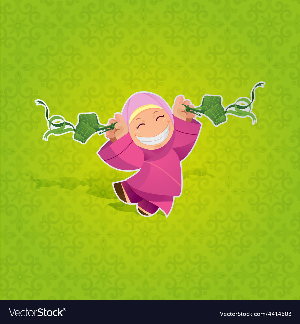 Girl celebrating hari raya aidilfitri vector | Price: 1 Credit (USD $1)