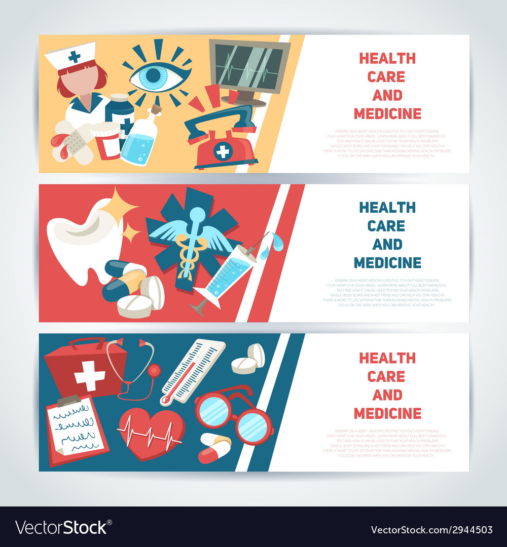 Medical horizontal banners vector | Price: 1 Credit (USD $1)
