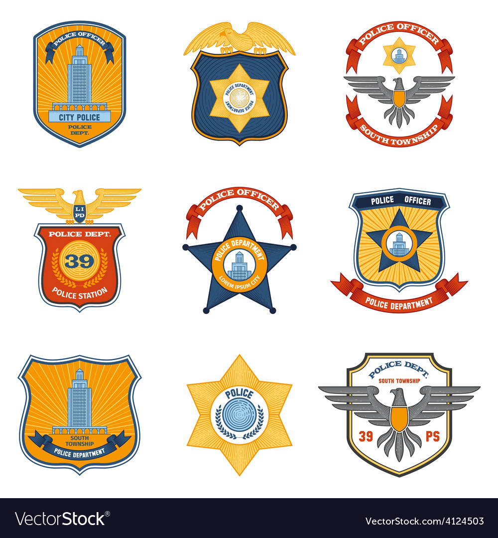 Police badges colored vector | Price: 1 Credit (USD $1)