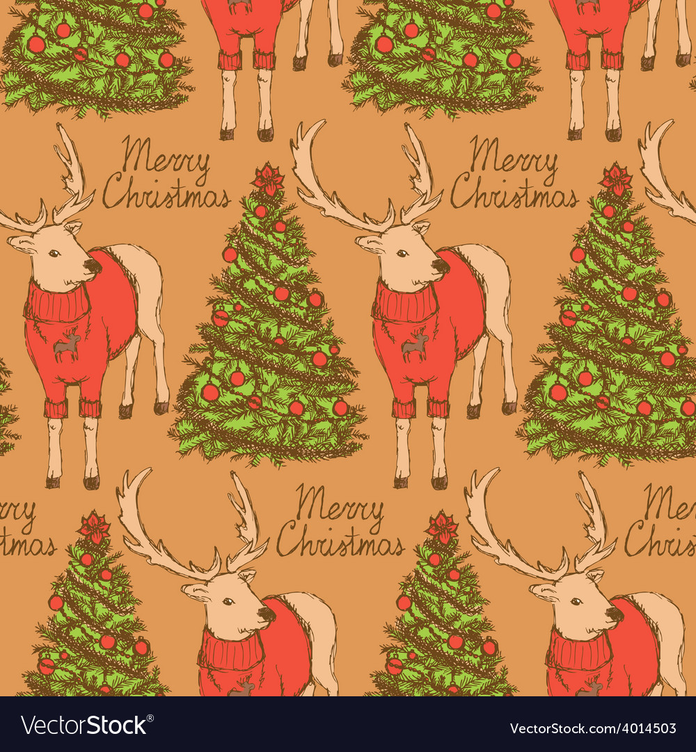 Sketch christmas reindeer and new year tree vector