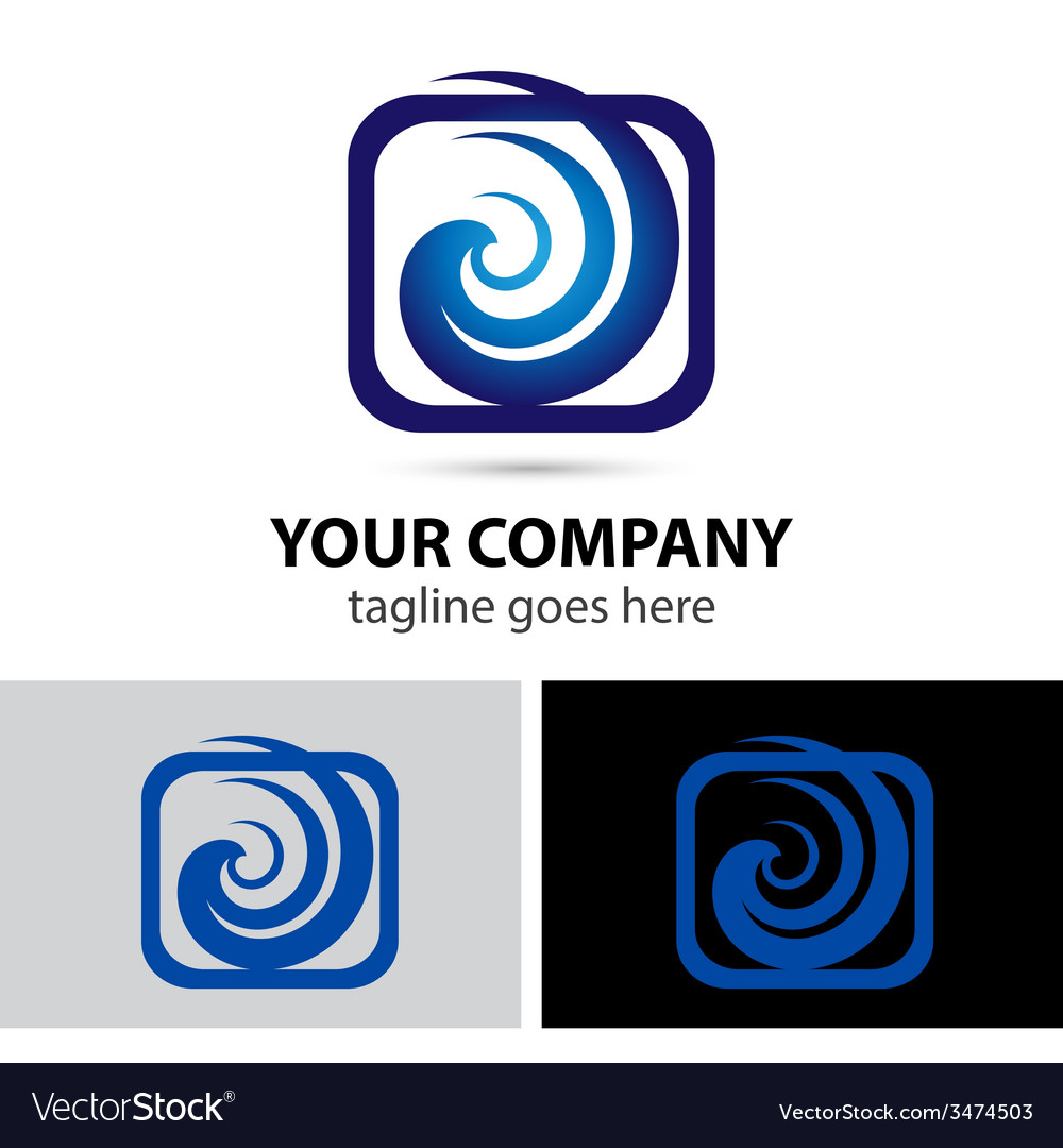 Spiral swirl in square rectangular logo element vector | Price: 1 Credit (USD $1)