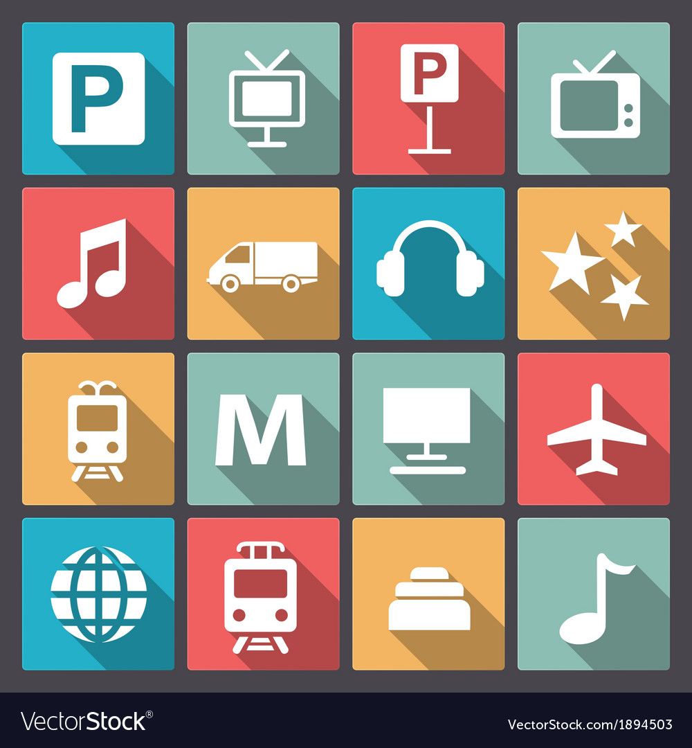 Transport and entertainment icons in flat design vector | Price: 1 Credit (USD $1)