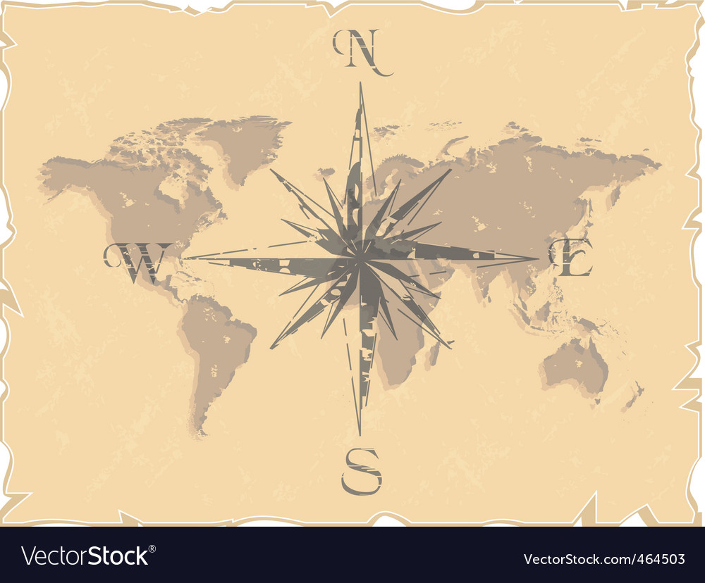 World map with compass vector | Price: 1 Credit (USD $1)