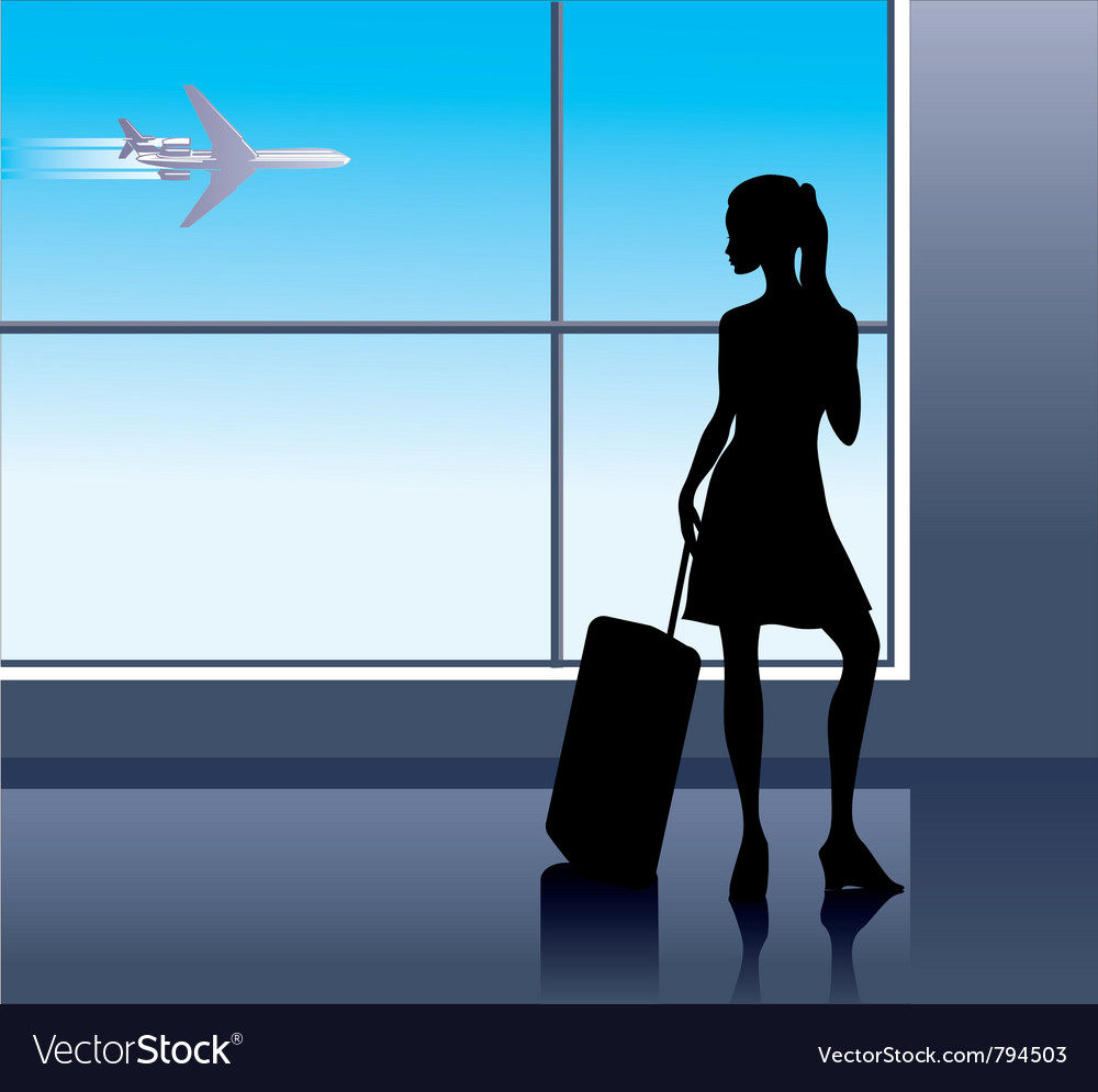 Young woman in the airport vector | Price: 1 Credit (USD $1)