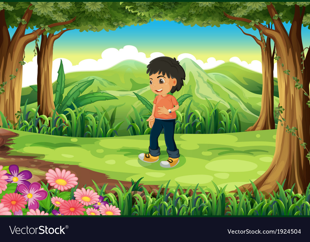 A teenager in the middle of the forest vector | Price: 3 Credit (USD $3)