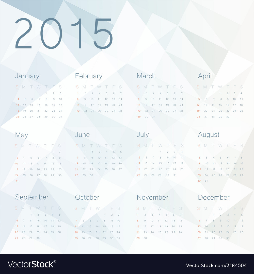 Abstract background with calendar 2015 vector