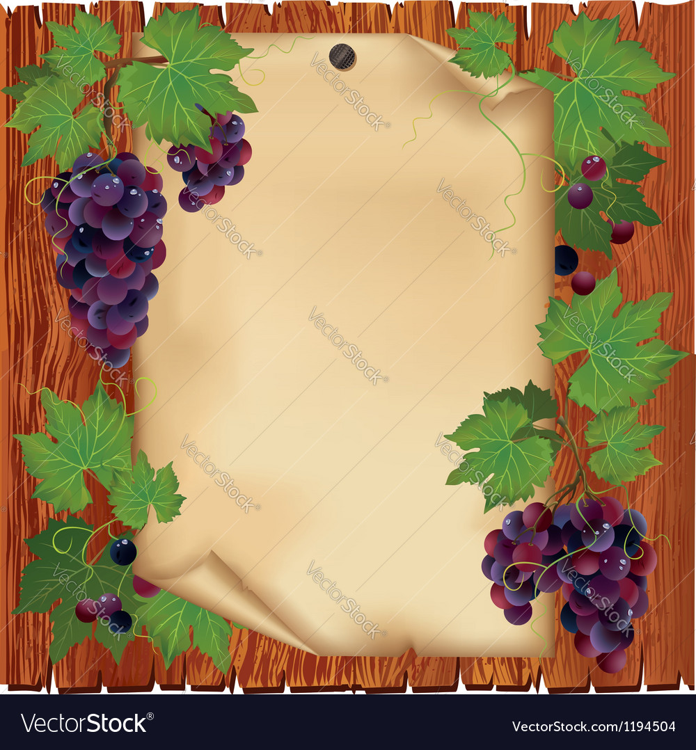 Background with grape and paper on wooden board vector | Price: 1 Credit (USD $1)