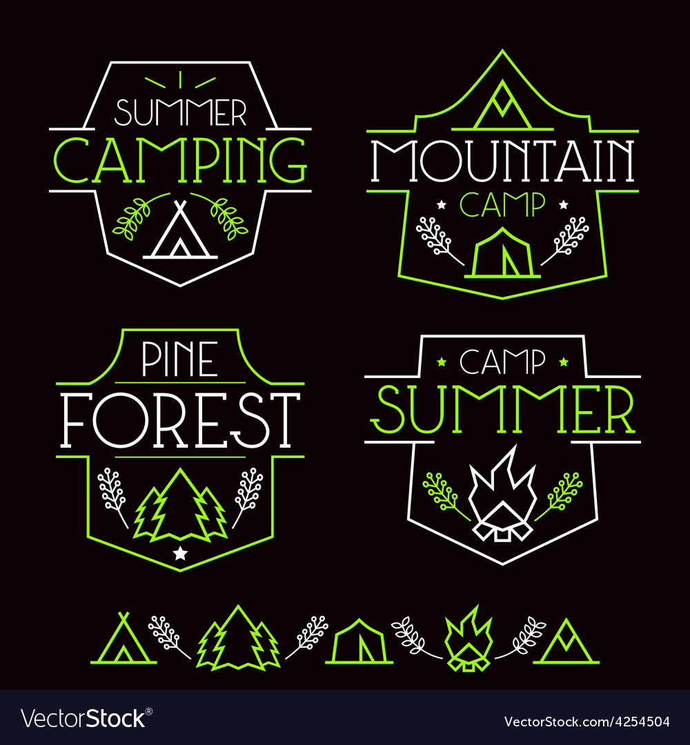 Camping badges and icons vector | Price: 1 Credit (USD $1)