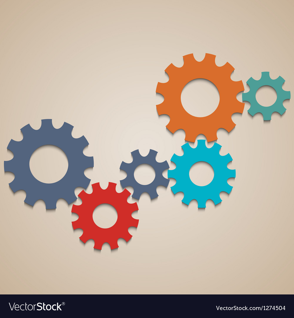 Colored abstract gear wheels vector | Price: 1 Credit (USD $1)