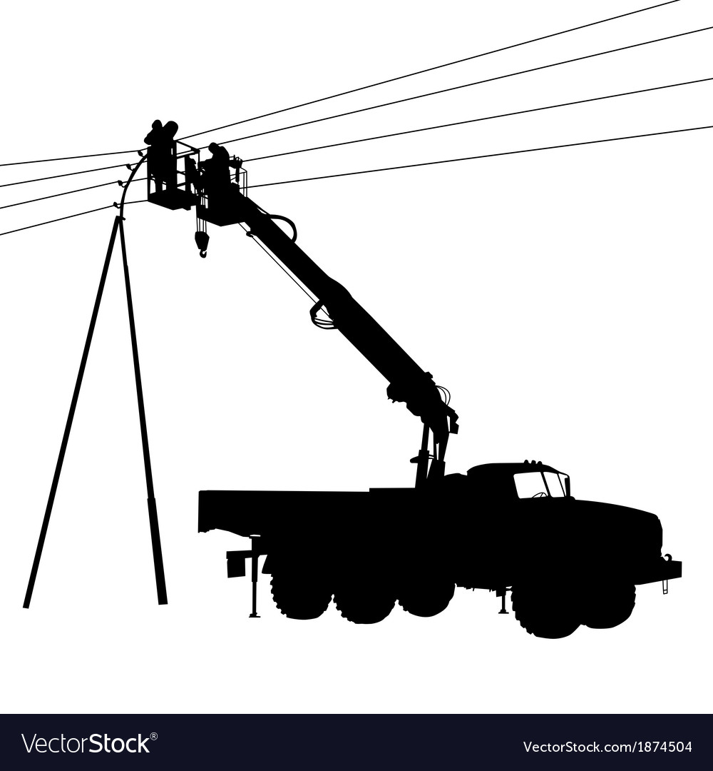 Electrician making repairs at a power pole vector | Price: 1 Credit (USD $1)