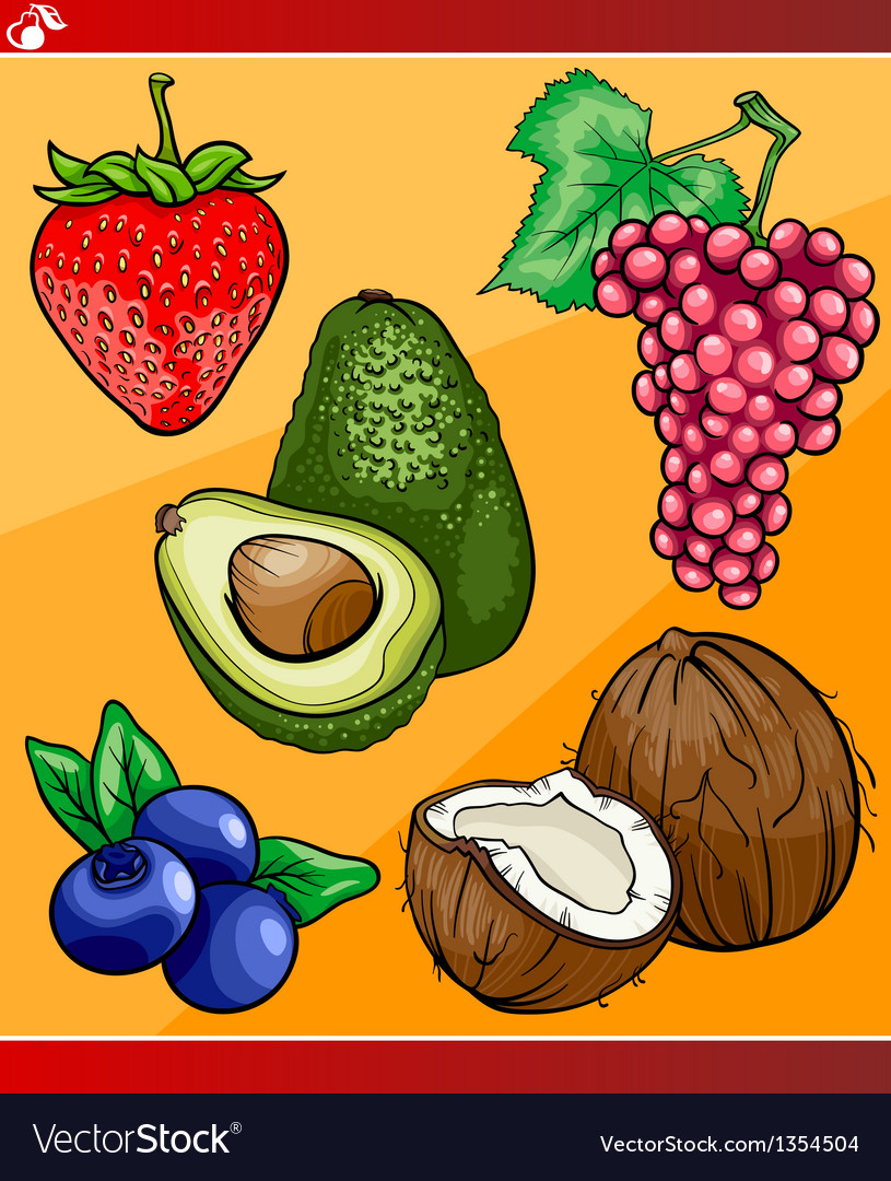 Fruits set cartoon vector | Price: 1 Credit (USD $1)