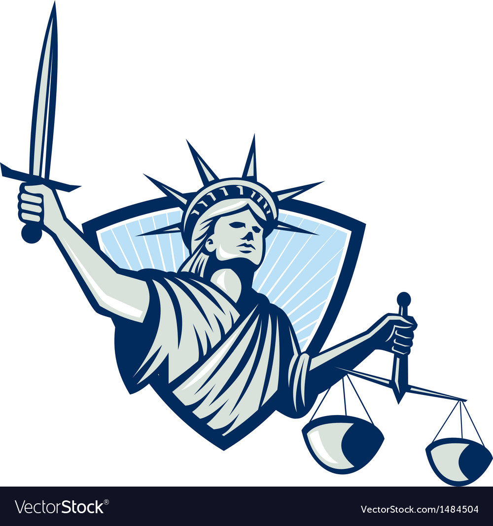 Statue of liberty holding scales justice sword vector | Price: 1 Credit (USD $1)