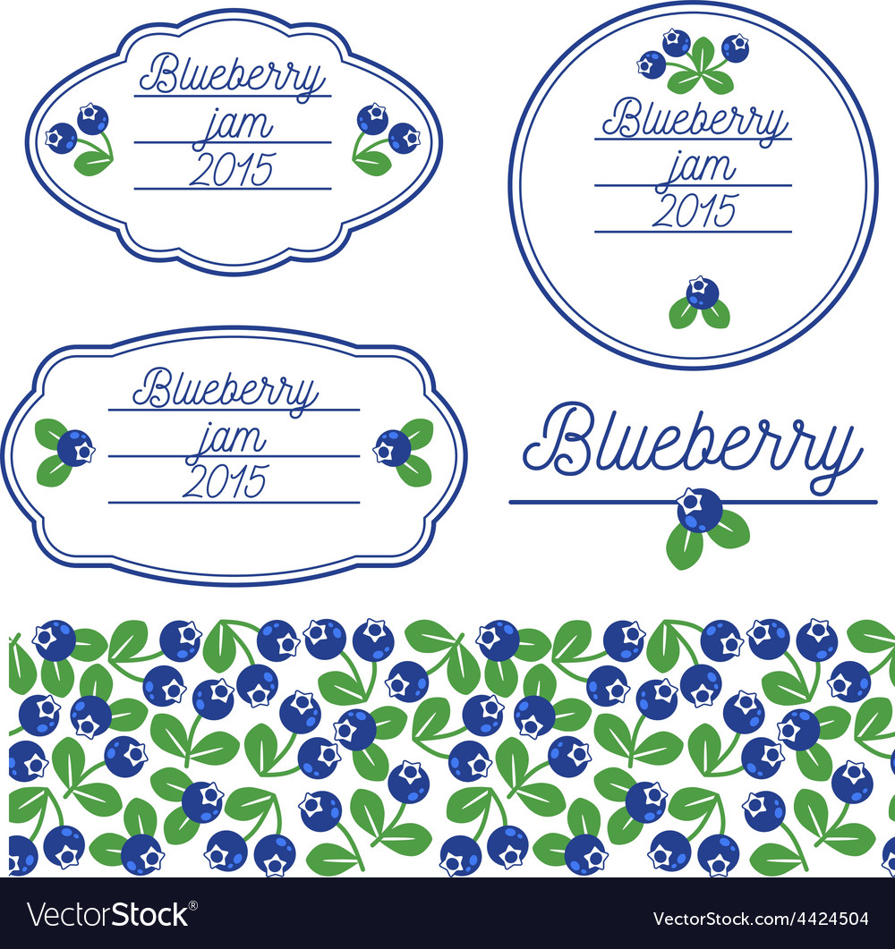 Stickers for jars of blueberry jam vector | Price: 1 Credit (USD $1)