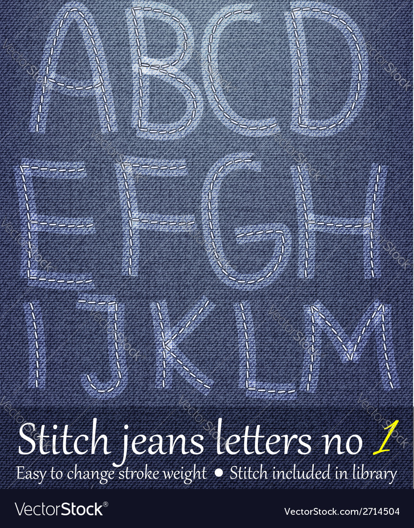 Stitched jeans letters vector | Price: 1 Credit (USD $1)