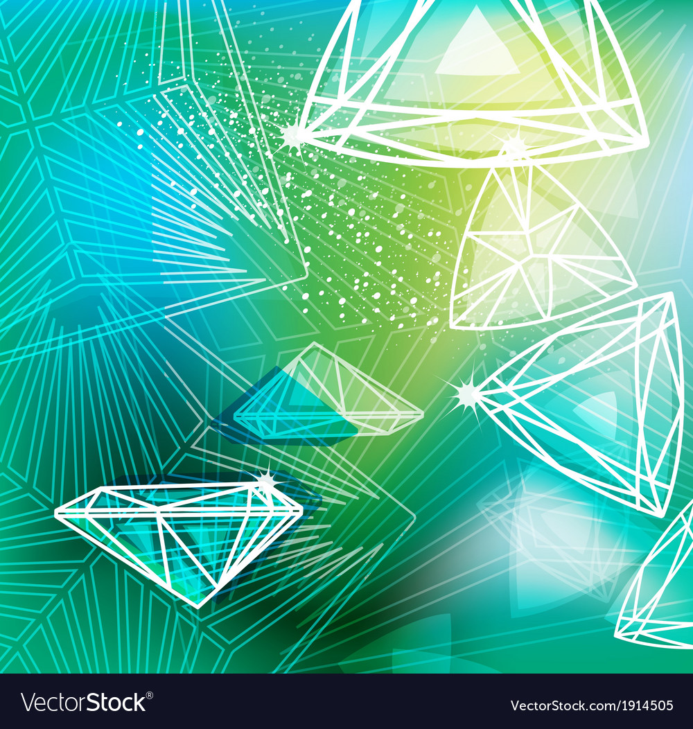 Abstract green background with linear diamonds vector | Price: 1 Credit (USD $1)