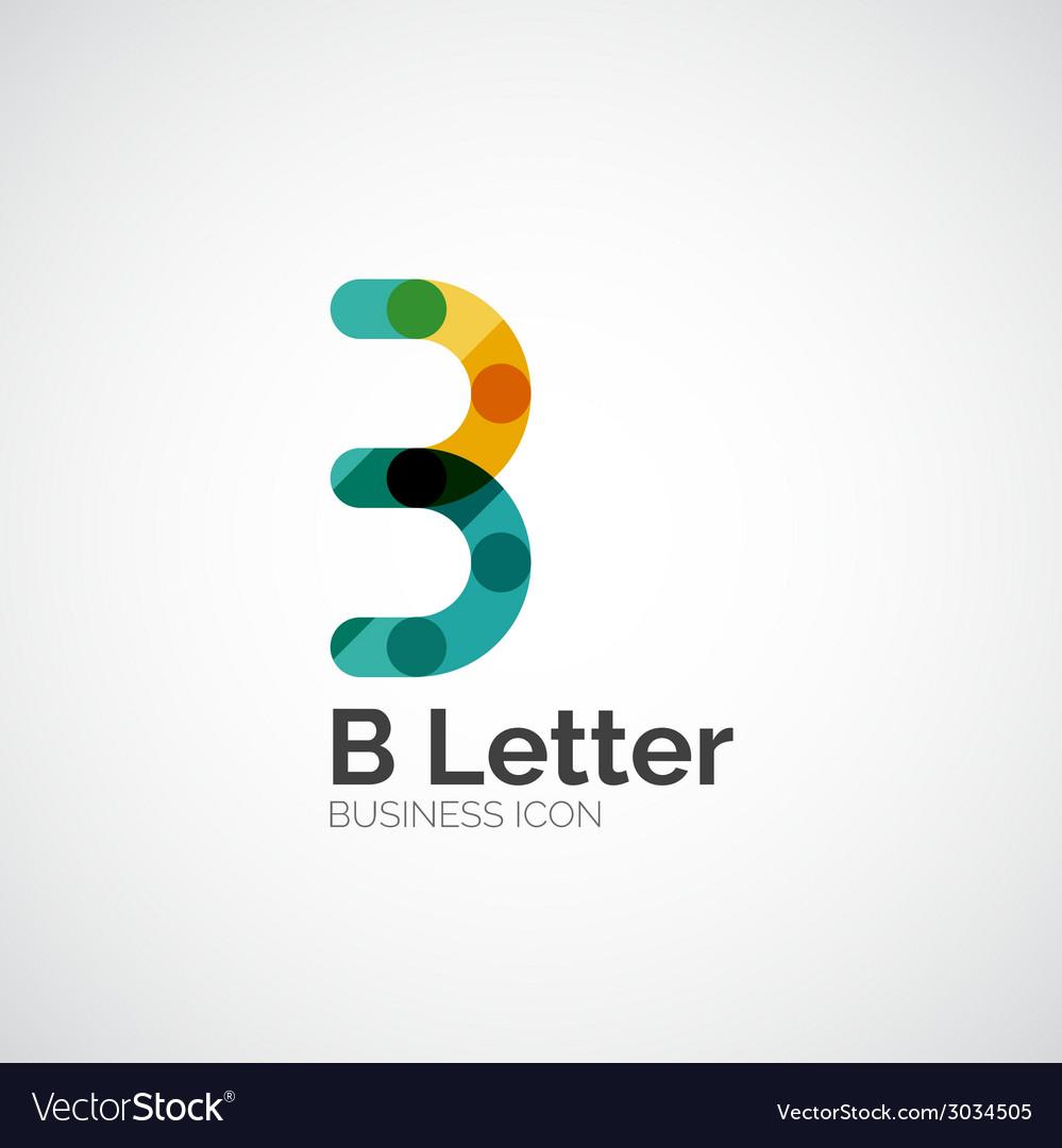 B letter logo minimal line design vector | Price: 1 Credit (USD $1)