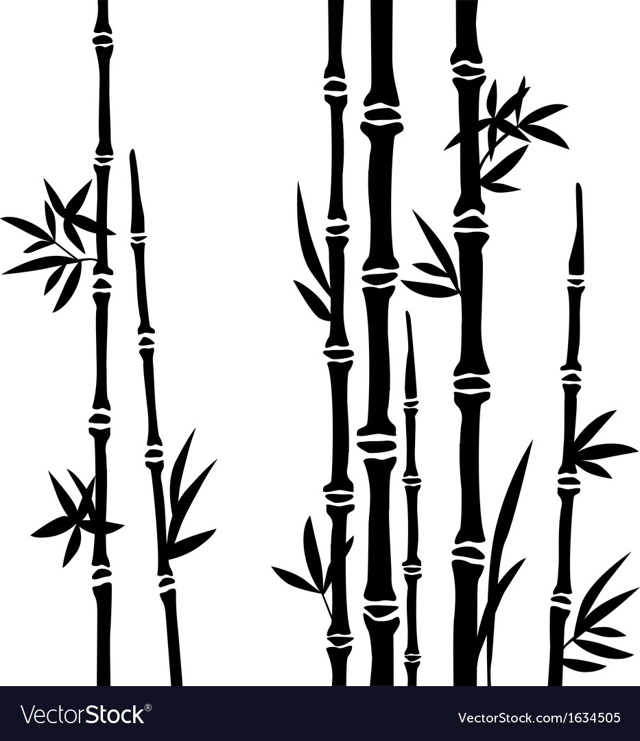 Bamboo branches isolated on the white background vector | Price: 1 Credit (USD $1)