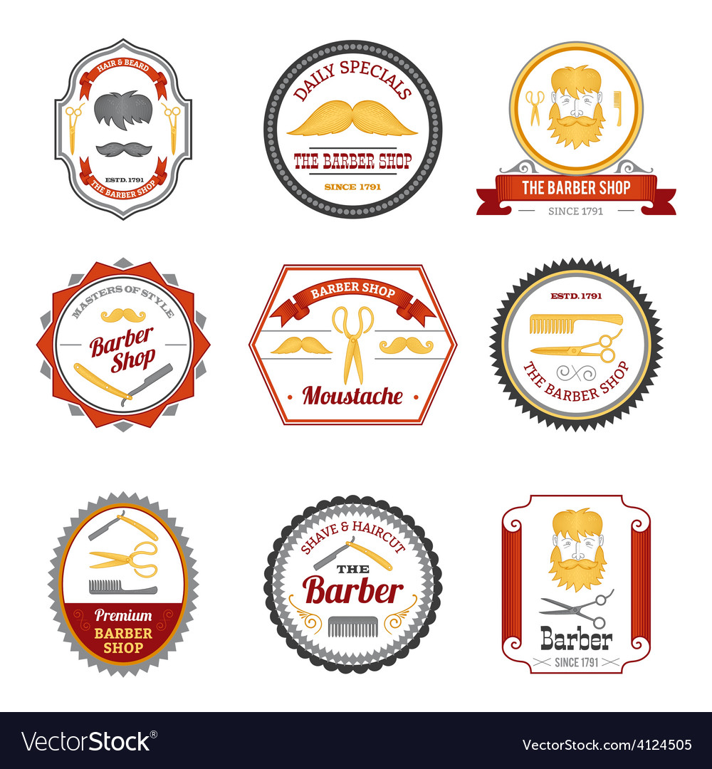 Barber shop emblems colored vector | Price: 1 Credit (USD $1)
