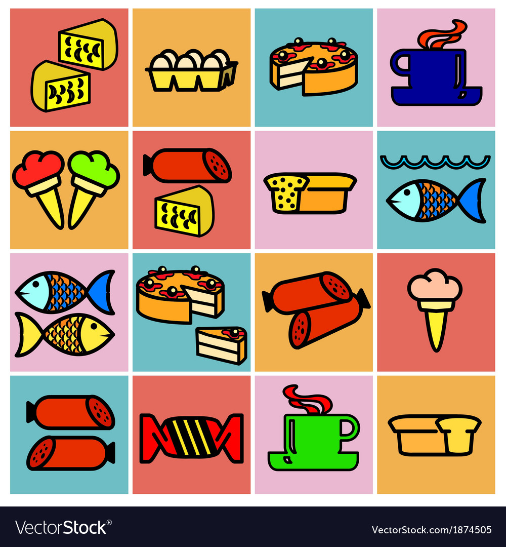 Collection flat icons food symbols vector | Price: 1 Credit (USD $1)