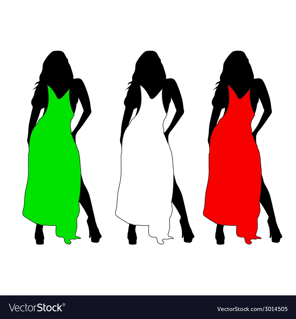 Girl with color dress vector | Price: 1 Credit (USD $1)