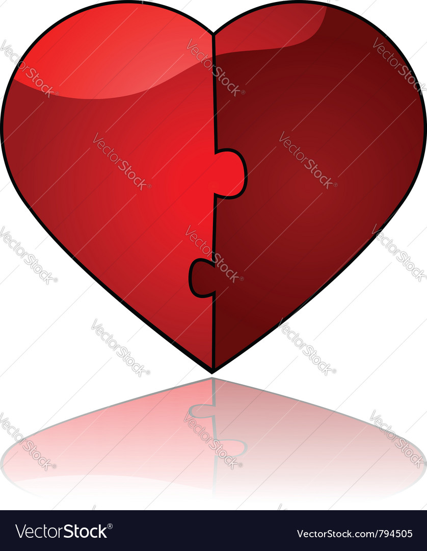 Glossy heart puzzle vector | Price: 1 Credit (USD $1)