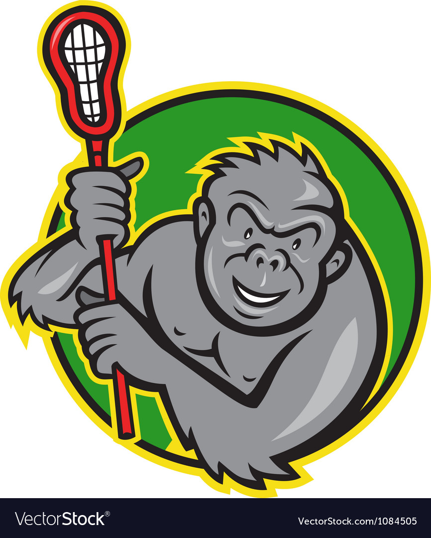 Gorilla ape with lacrosse stick cartoon vector | Price: 1 Credit (USD $1)