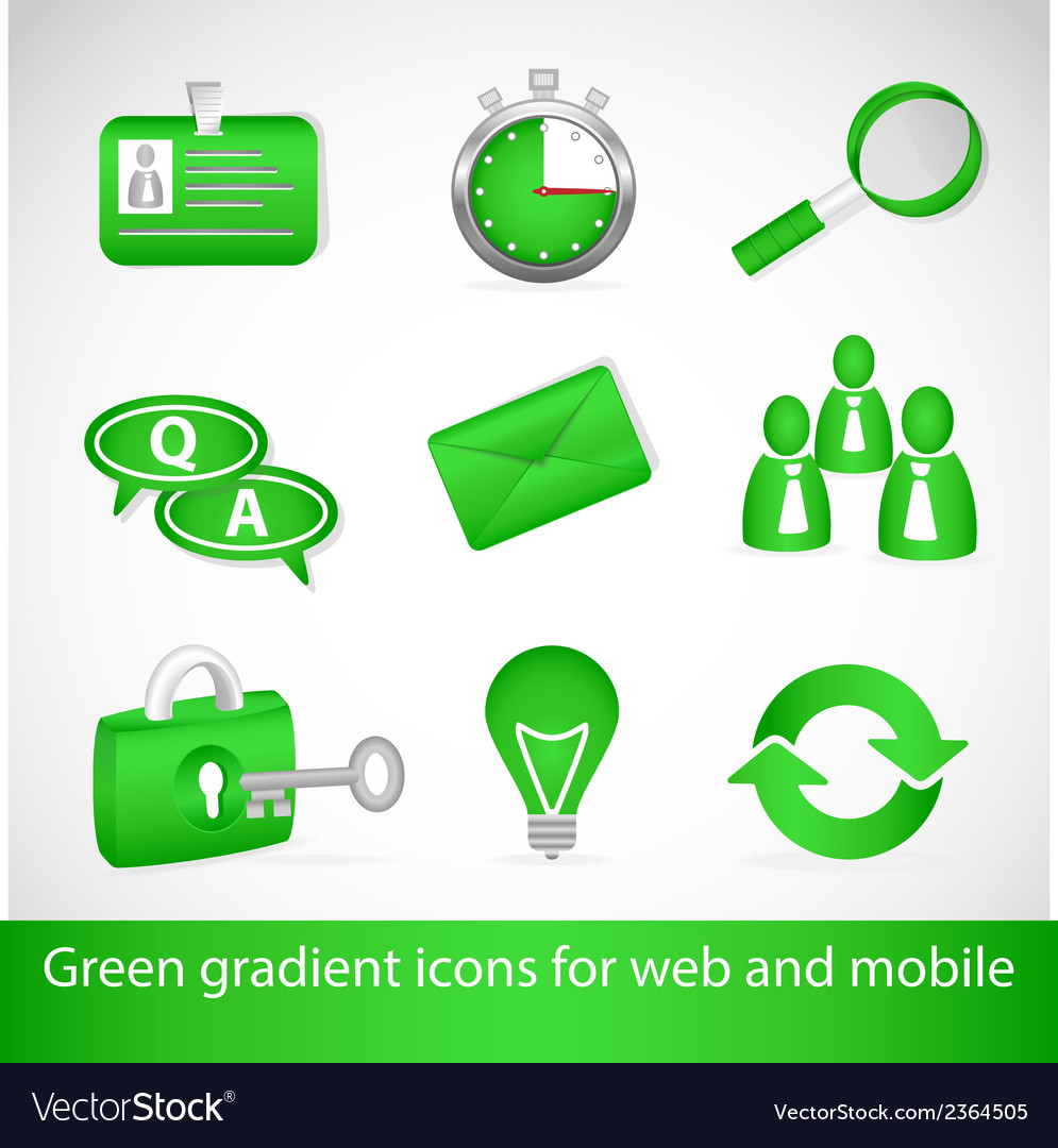 Green gradient icons for web applications and vector | Price: 1 Credit (USD $1)