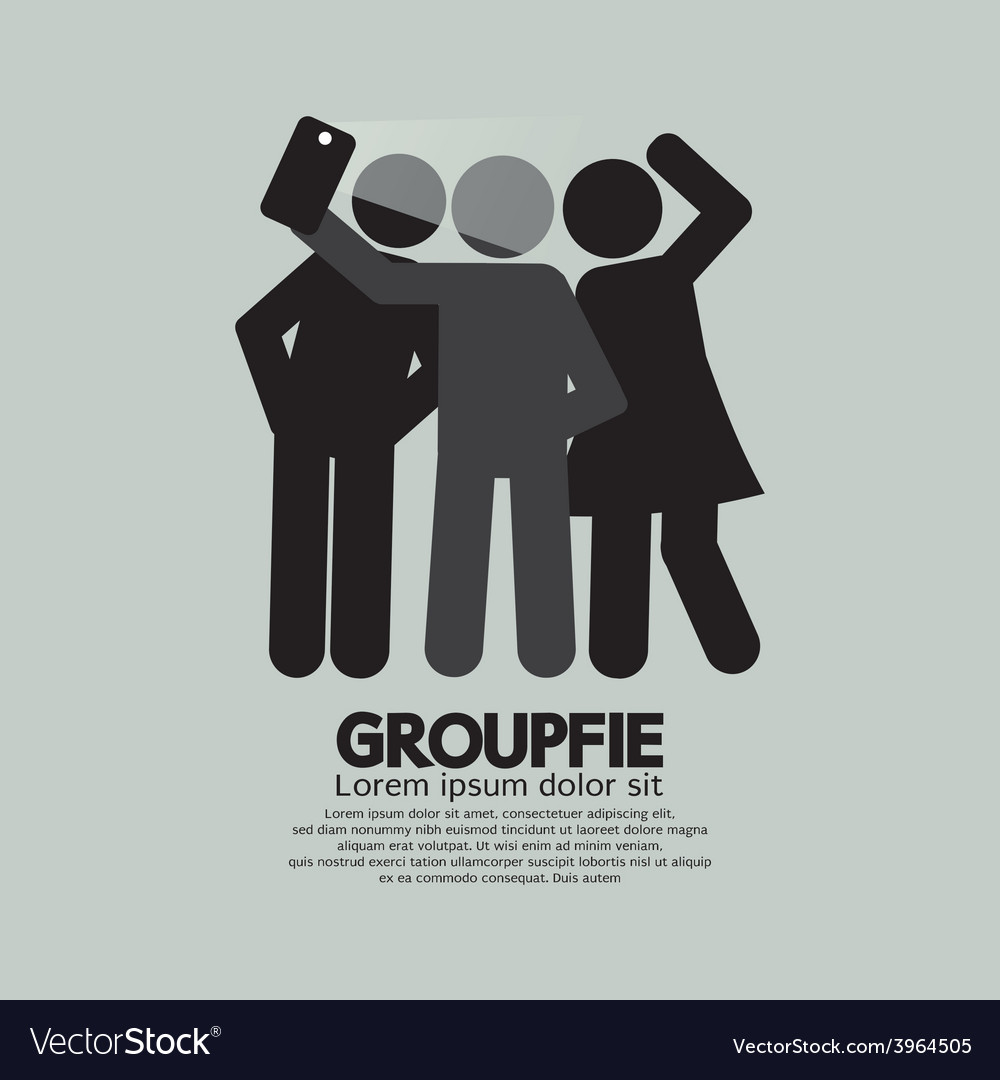 Groupfie symbol a group selfie by phone vector | Price: 1 Credit (USD $1)