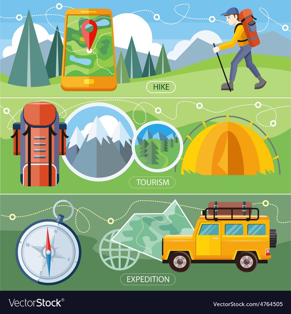 Hike expedition and tourism vector | Price: 3 Credit (USD $3)