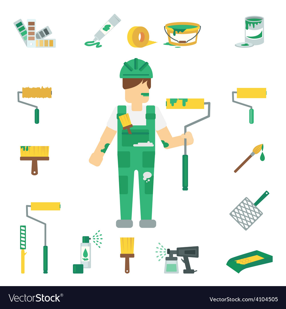House painter flat set vector | Price: 1 Credit (USD $1)