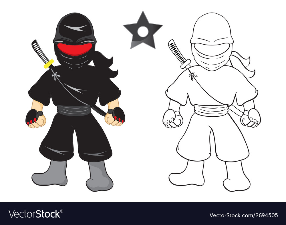 Ninja cartoon on white background vector | Price: 1 Credit (USD $1)