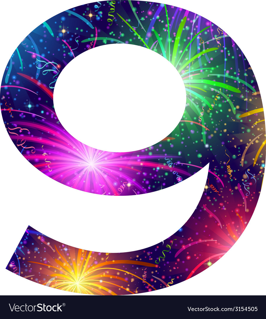 Number of colorful firework nine vector | Price: 1 Credit (USD $1)
