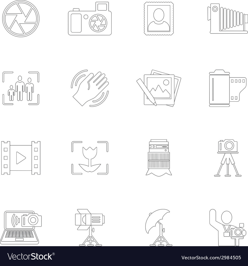 Photography icons outline vector | Price: 1 Credit (USD $1)