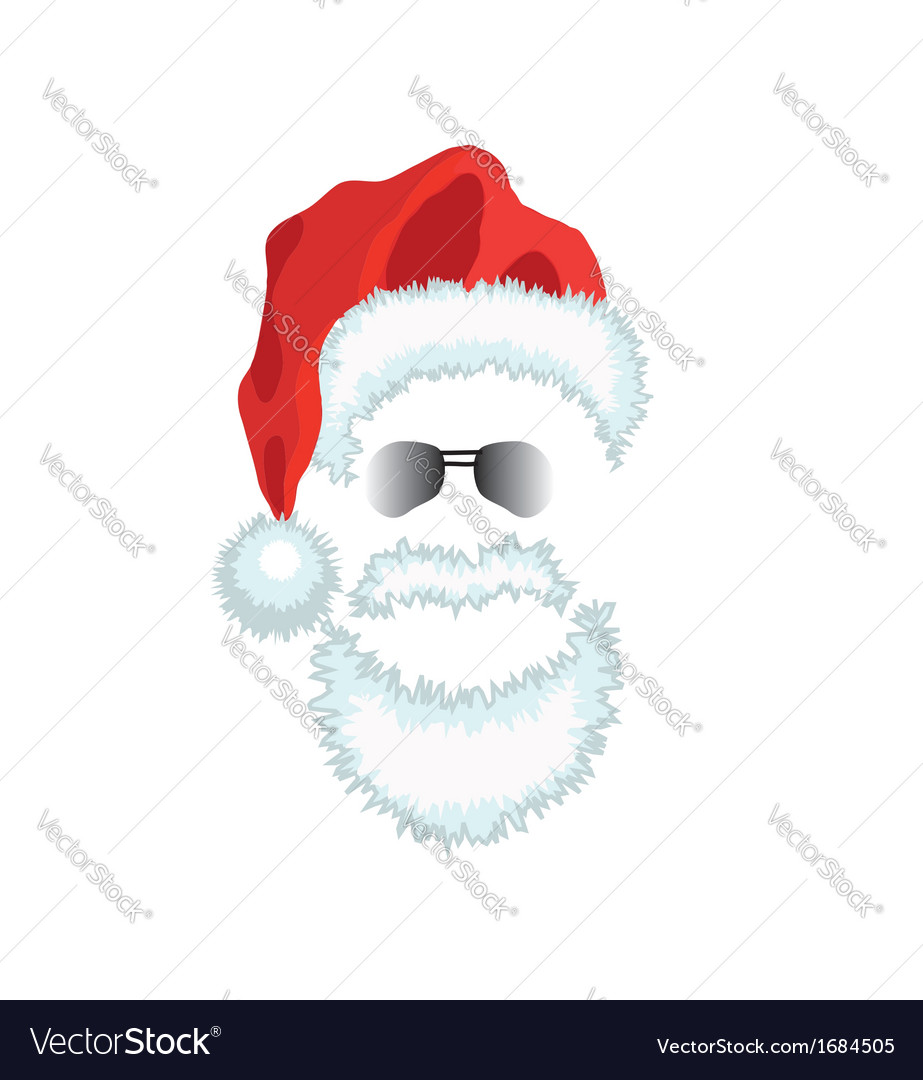 Red santa claus hat beard and glasses vector | Price: 1 Credit (USD $1)