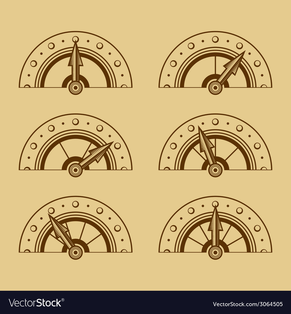 Set of indicators in retro style vector | Price: 1 Credit (USD $1)