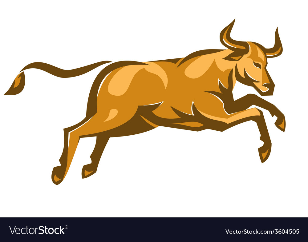 Texas longhorn bull jumping side retro vector | Price: 1 Credit (USD $1)