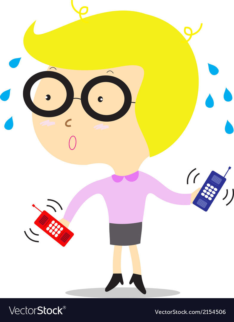 Busy business woman with telephone ringing vector | Price: 1 Credit (USD $1)