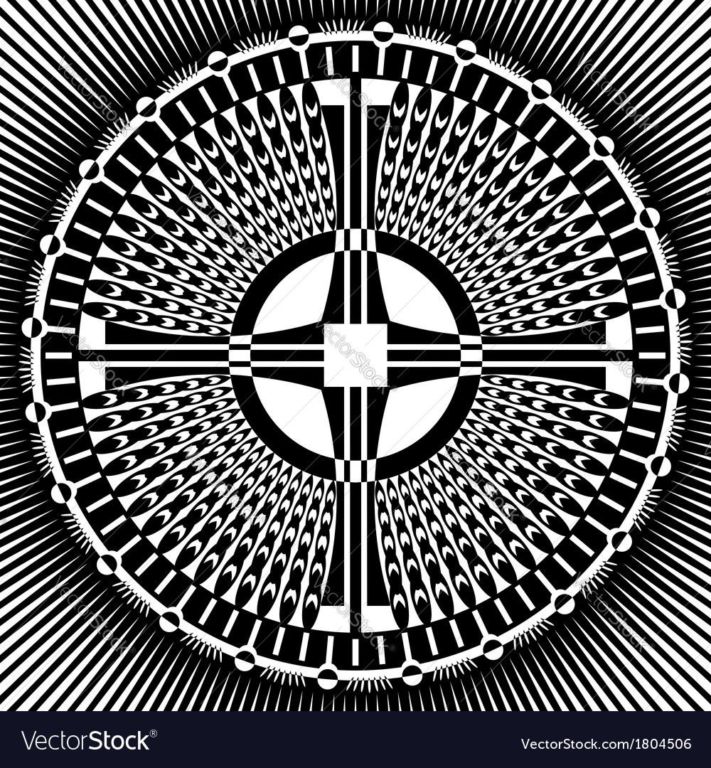 Cross in circle pattern vector | Price: 1 Credit (USD $1)