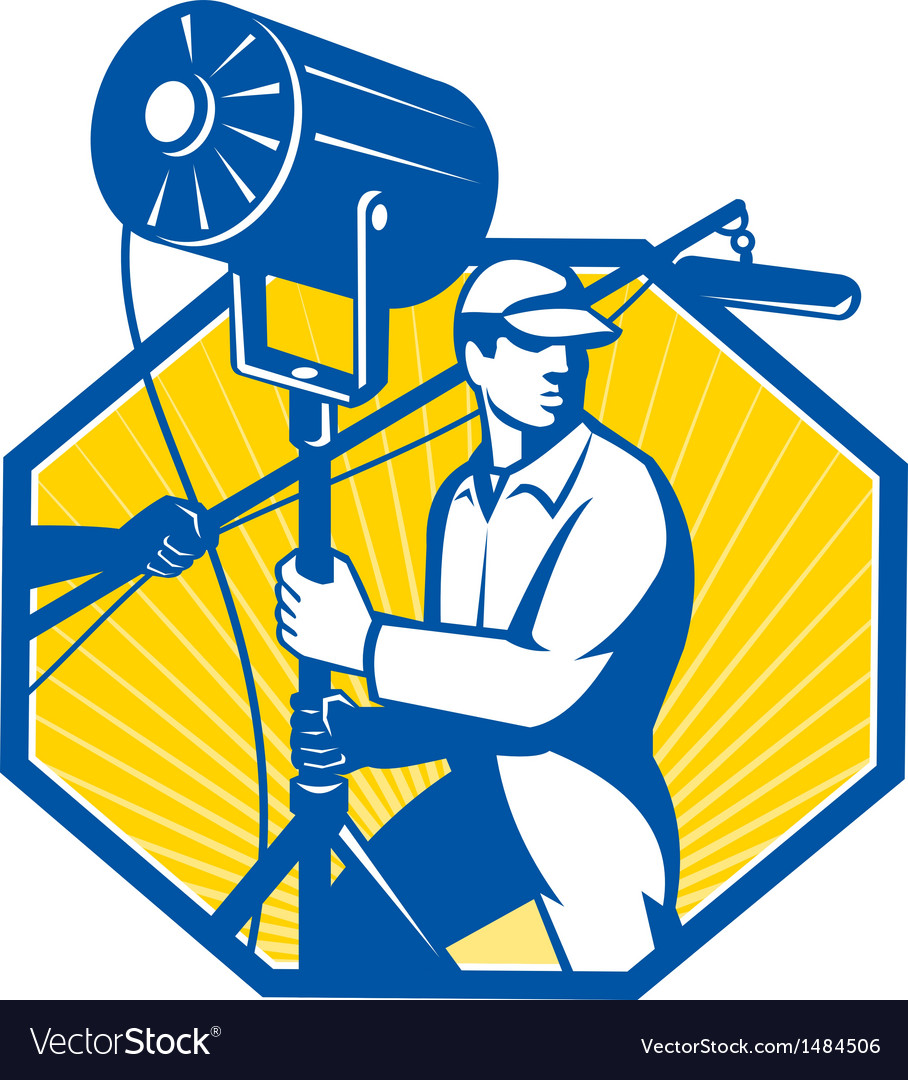 Electrical lighting technician crew spotlight vector | Price: 1 Credit (USD $1)
