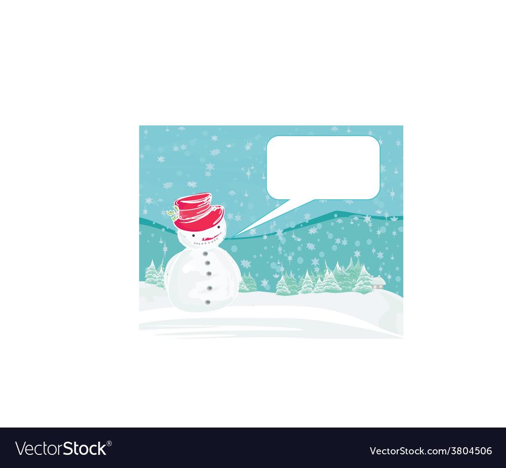 Happy snowman on winter landscape card vector | Price: 1 Credit (USD $1)