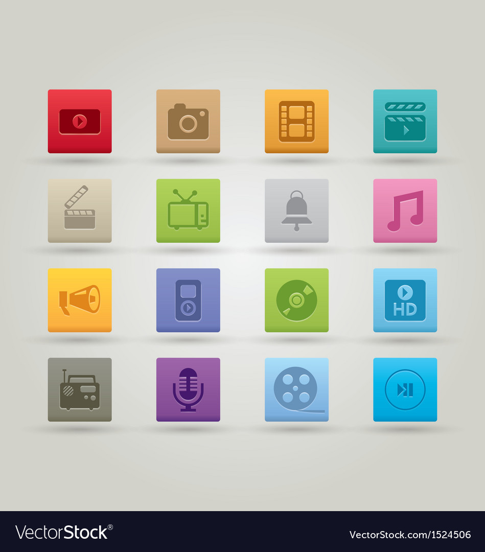 Media icons 3 vector | Price: 1 Credit (USD $1)