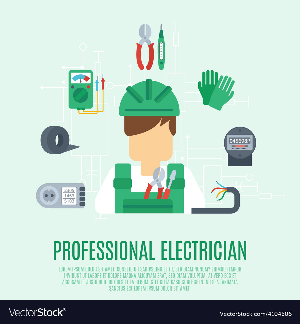 Professional electrician concept vector | Price: 1 Credit (USD $1)