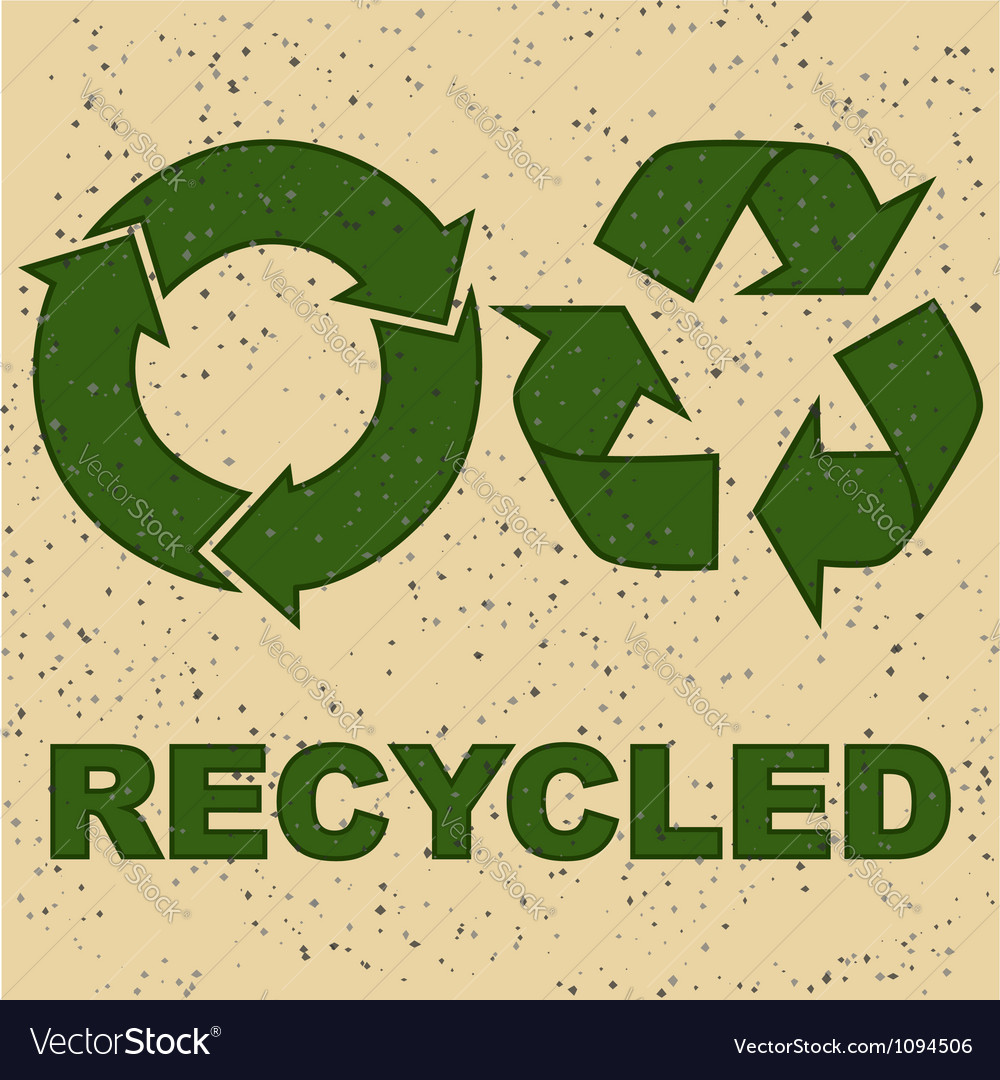 Recycling sign on recycled paper vector | Price: 1 Credit (USD $1)