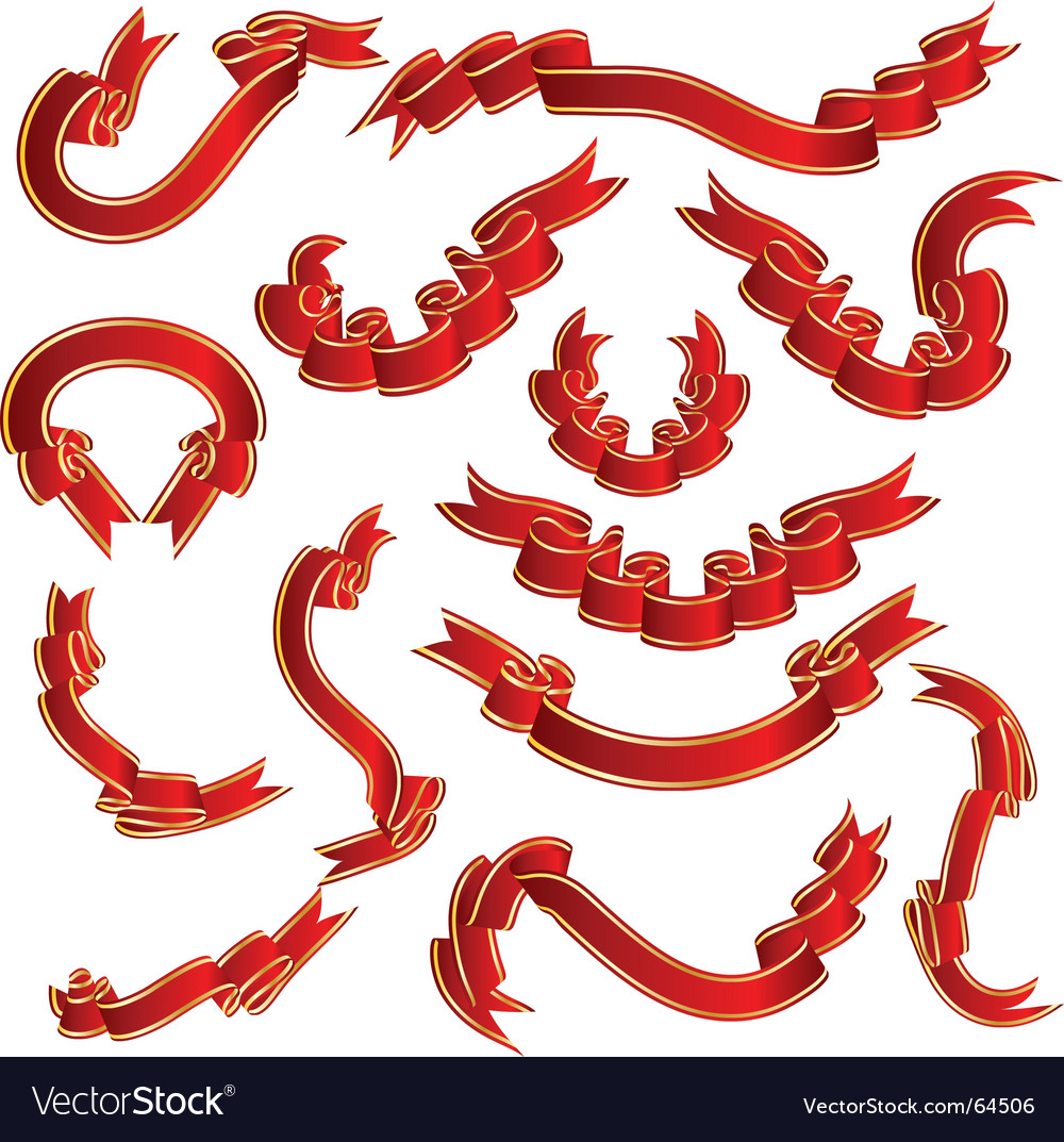Red ribbons set vector | Price: 1 Credit (USD $1)
