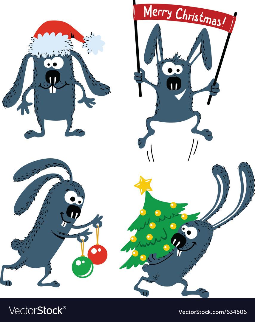 Set of cute christmas rabbits vector | Price: 3 Credit (USD $3)