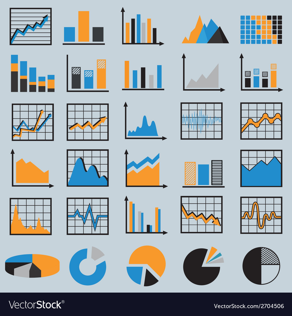 Set of diagrams and graphs vector | Price: 1 Credit (USD $1)