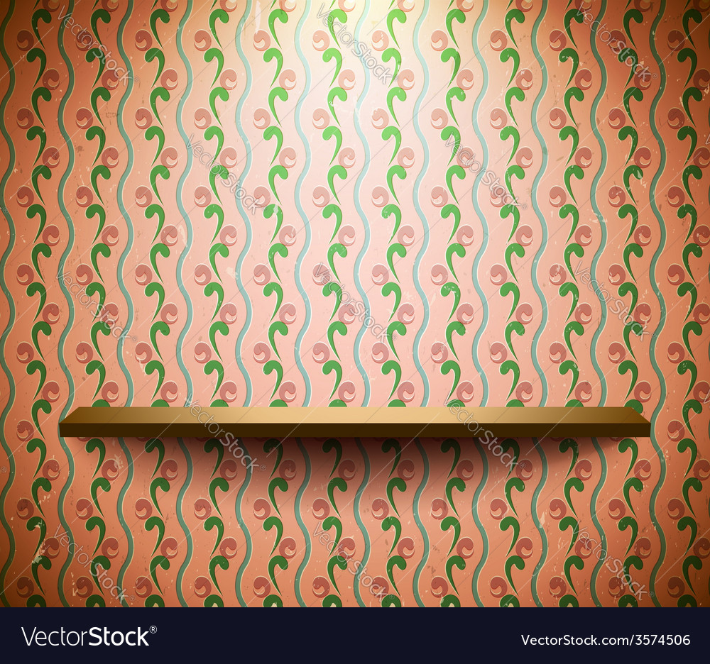 Shelf on the floral wallpaper vector | Price: 1 Credit (USD $1)