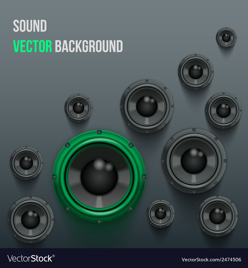Sound load speakers on dark background vector | Price: 1 Credit (USD $1)