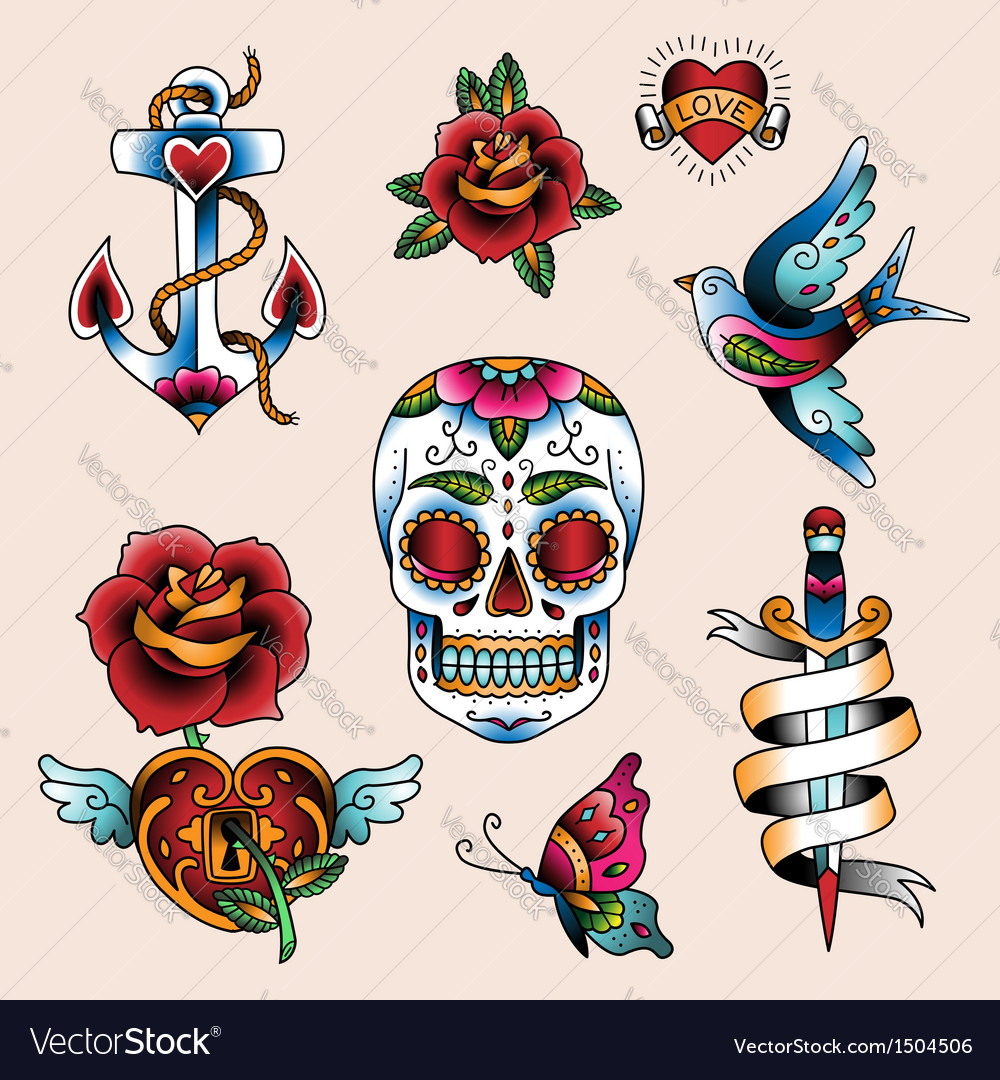 Tattoo set vector | Price: 3 Credit (USD $3)