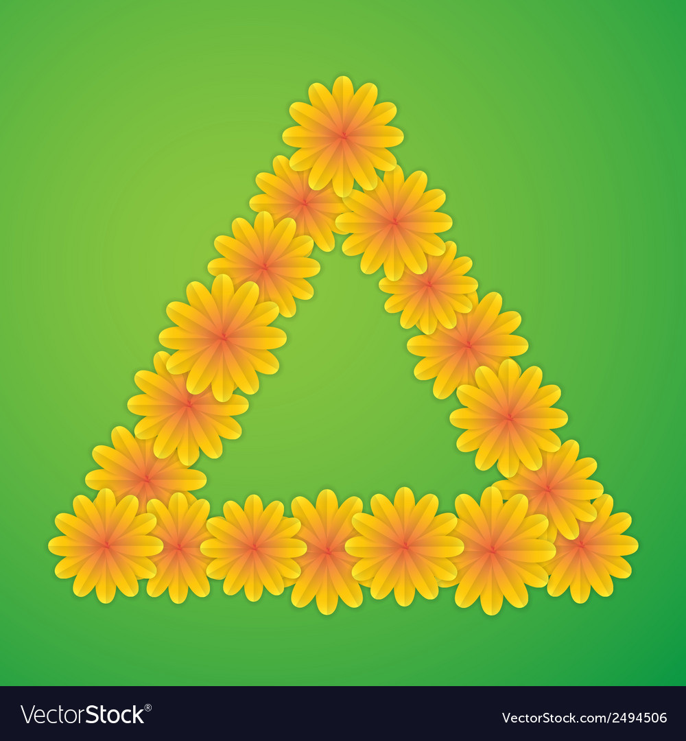 Triangle with yellow flowers vector | Price: 1 Credit (USD $1)